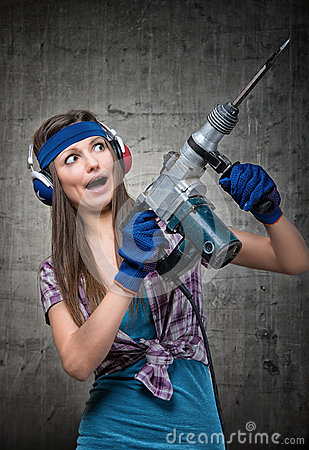 Free Funny Girl With A Jackhammer Stock Photos - 68789193