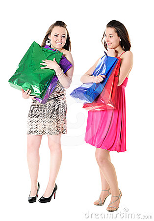 Funny girls with shopping bags