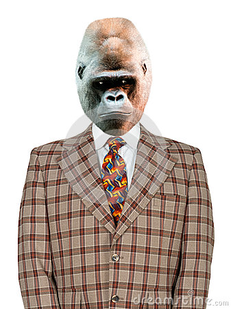 Funny Gorilla Businessman, Suit and Tie, isolated