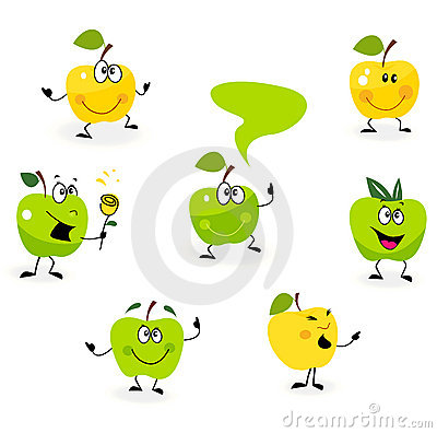 Funny green Apple fruit characters on white