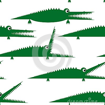 Funny green crocodile, seamless pattern for your