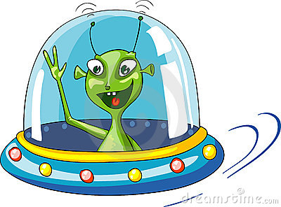 Funny green extraterrestrial in spaceship