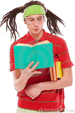 Funny guy with books