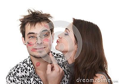 Funny guy nerdy and glamorous girl