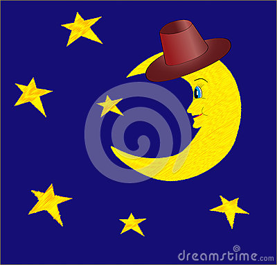 Funny half moon in hat with bright