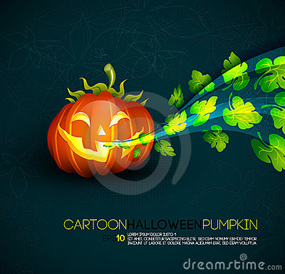 Funny Halloween Pumpkin with Spreading Leafs