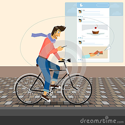 Funny handsome guy rides a bike