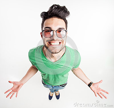 Free Funny Handsome Man With Hipster Glasses Showing His Palms And Smiling Large - Wide Angle Shot Royalty Free Stock Photo - 30668685