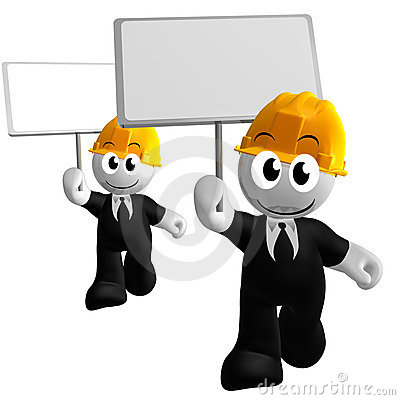 Funny and happy 3d icon holding blank sign