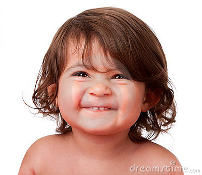 Funny happy baby toddler face