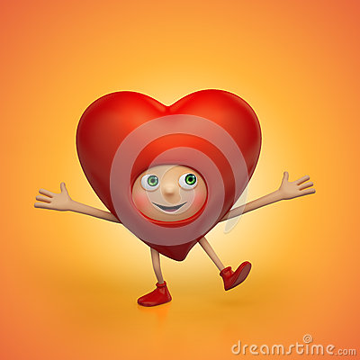 Funny happy red Valentine heart cartoon dancing