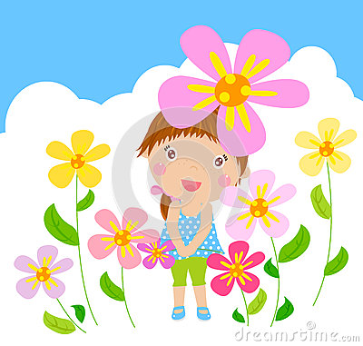 Funny happy smiling girl with flower