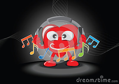 Funny heart listening the music