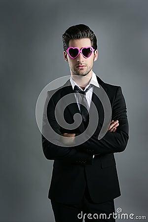 Funny heart shape pink sunglasses businessman