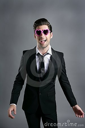 Funny heart shape pink sunglasses businessman