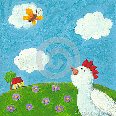 Free Funny Hen And Butterfly Stock Images - 29603964