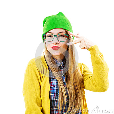 Free Funny Hipster Girl Going Crazy Isolated On White Stock Photography - 64731592