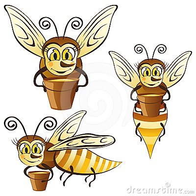 Funny honey bees with a bucket of honey