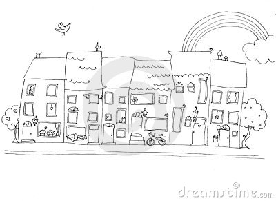 Funny houses in happy city b/w