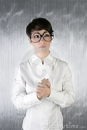 Funny humor futuristic woman big glasses