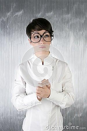 Funny humor futuristic woman big glasses