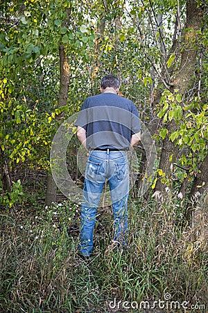 Funny Humor Man Pee in Woods