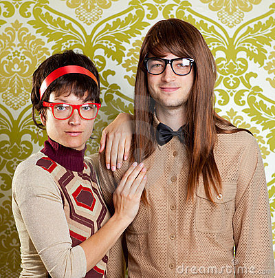 Funny humor nerd couple on vintage wallpaper