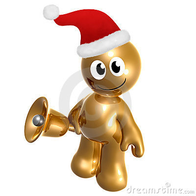 Funny icon figure with santa hat and bell