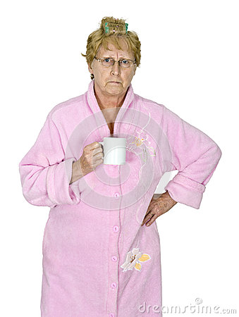 Funny Angry Mature Woman Morning Coffee Isolated Stock