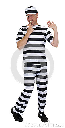 Funny Innocent Convict Burglar Isolated on White