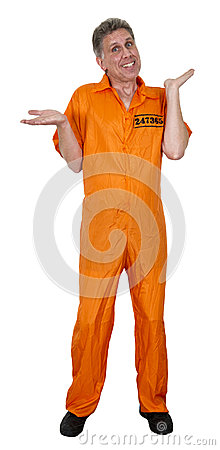 Funny Innocent Jailbird Crook Burglar Isolated