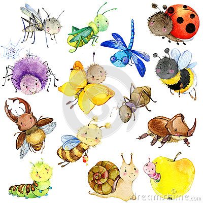 Free Funny Insects Collection. Watercolor Cartoon Insect. Royalty Free Stock Image - 64984576