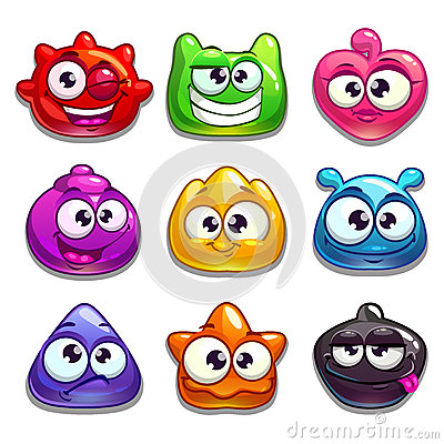 Free Funny Jelly Characters Set Stock Images - 56723444