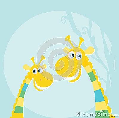 Funny jungle yellow giraffes
