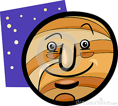 Funny jupiter planet cartoon illustration