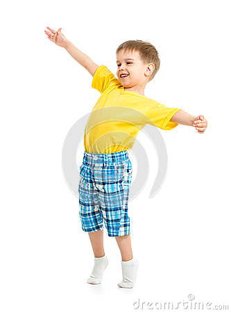 Funny kid boy with open arms isolated