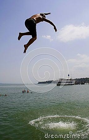 Funny kid jumping