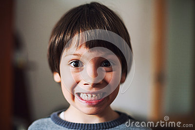 Funny kid with surprised face