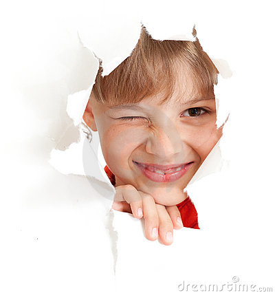 Free Funny Kid Wink Eye In Torn Paper Hole Isolated Stock Image - 20243641