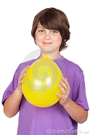 Funny kid with a yellow balloon