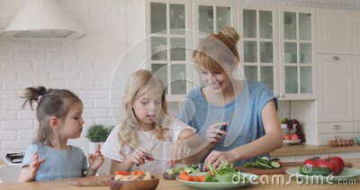 Funny kids siblings helping mom cutting fresh vegetable salad together stock footage