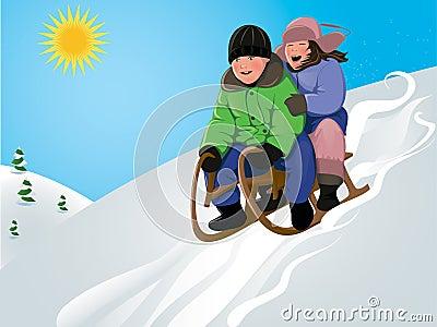 Funny kids sledding