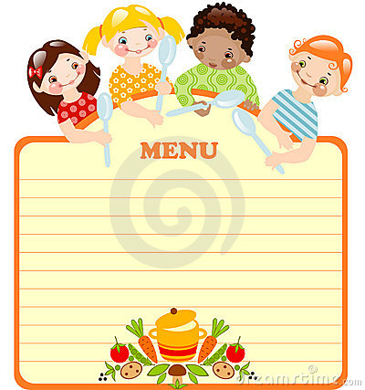 Free Funny Kids With Spoons.menu. Stock Photography - 19552322