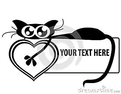 Funny kitten on banner holding heart