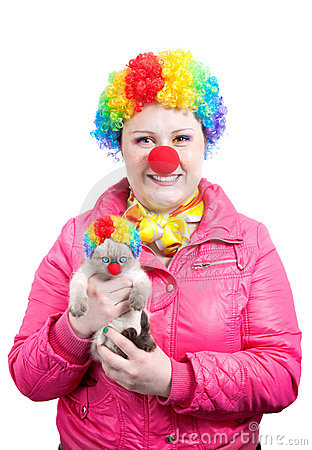 Funny Kitten and clown
