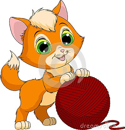 Free Funny Kitten With A Ball Of Threads Royalty Free Stock Photo - 104319875