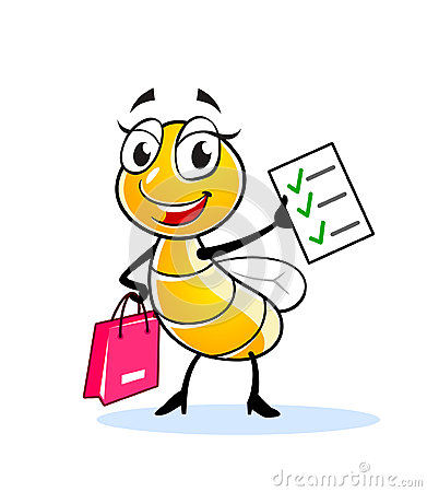 Happy fly or bee cartoon character with pink bag and shopping list.