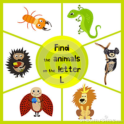 Funny learning maze game, find all 3 cute wild animals with the letter L, desert lizard, the lion of the Savannah and the insect l Cartoon Illustration