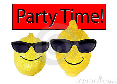 Funny lemons in sunglasses go party