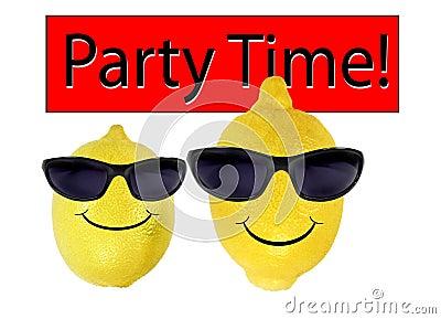 Funny lemons in sunglasses go party